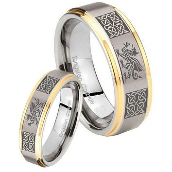 His Hers Step Edge Multiple Dragon Celtic 14K Gold 2 Tone Tungsten Wedding Rings Set