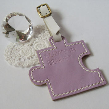 Perfect Wedding Gift, Personalized custom made leather puzzle light purple luggage tag