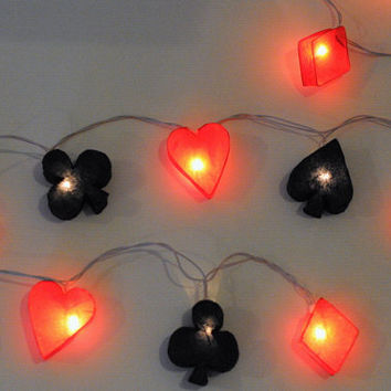 20 light of heart, diamond, spade, club card symbol gamble string light lantern hanging garland light party casino night