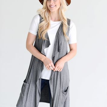Heather Gray DLMN Long Draped Vest