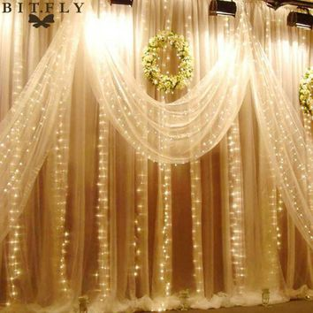 LMFONHS Waterproof 6M x 3M 600 LED Wedding Light icicle Christmas Light LED String Fairy Light Bulb Birthday Party Garden Curtain Decor