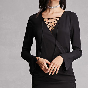 Line & Dot Lace-Up Mini Dress