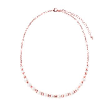 Rose Gold Plated Necklace with Cream Pearls and Crystal Beads 16.5 in with 3 in ext