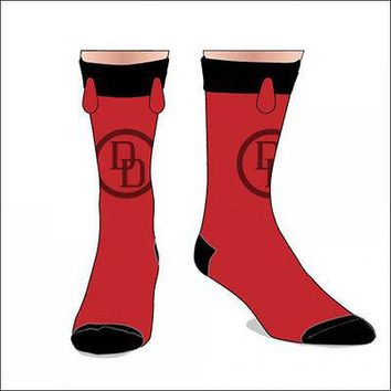 Daredevil Marvel Comics Costume Cosplay Mens Crew Socks with Horns LICENSED NEW