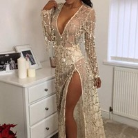 Cover ups Bikini Sexy Sequins Beach Tassel Long Dress Kaftan Pareo Sarongs Bikini Swimwear Tunic Swimsuit Bathing Suit  Robe De Plage KO_13_1