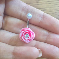 Belly Button Ring Jewelry, Pearl Pink Rose CZ Crystal Stud Navel Piercing Barbell Flower Rosebud Belly Button Ring Jewelry