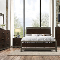 Acme 26680Q 5 pc Charleen walnut finish wood metal trim accents queen bedroom set