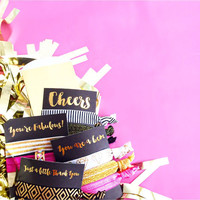 1 Set of 3 Hair Ties Bachelorette Party Favors Accessories Small Gift Bridesmaids Cheers Small Thank You Fabulous Awesome Gold Foil Black