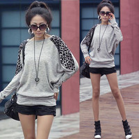 Women Casual Leopard Batty Long Sleeve Sweats Hip-length Tops T-shirt