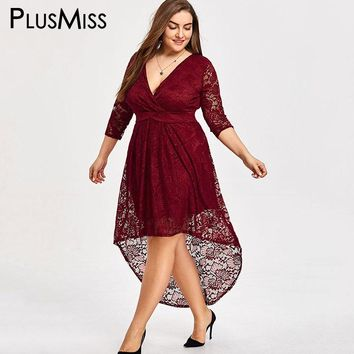 Plus Size High Low Lace Crochet V Neck Maxi Long Dresses