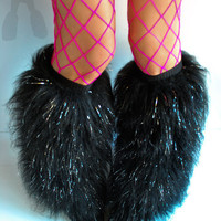 Glitter fluffies Gogo rave black fluffy bootcovers anime Monster fur fluffys