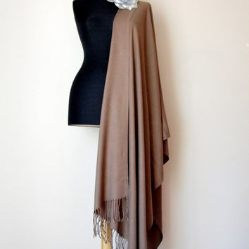 Mocha Brown Shawl, Solid Color Light Brown Pashmina, Cashmere Silk Scarf, Elegant Wrap, Bridesmaid Gift, Wedding Shawl, Flower Brooch Pin