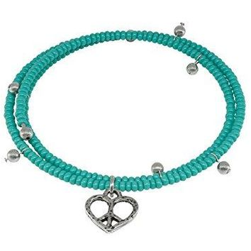 AUGUAU Signature Miami Sterling Silver Memory Coil Heart Charm Bracelet