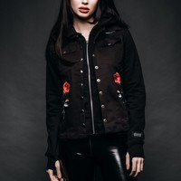 Black Rose Studded Two-Piece Jacket With Embroidery
