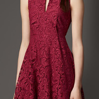 Split Neckline Lace Dress
