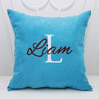 Personalized Pillow Covers Custom Pillowcase Girl Boy Name Initial Decorative Monogram Pillow Cover Home Nursery Bedroom Decor Monogrammed Throw Pillows Gift V15