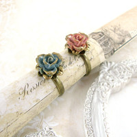 Dusty Pink Resin Rose Ring - Neo Victorian Dusty Blue Bronze Antiqued Brass Finger Ring - Shabby Chic Jewelry Dusty Rose Blue Jewelry