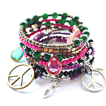 Peace sign charm jewelry Hippie bracelets set Wrap friendship braclets Flower child festival accessories summer wear Coachella jewellery