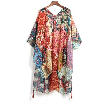 New Arrivals Beach Caftan Swimsuit Cover up Print Chiffon Pareo Women Robe Plage Swimwear Dress Sexy Sarong Beach Tunic Cover Up