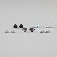 Full Tilt 6 Piece Infinity/Skull/Wings Stud Earrings Silver One Size For Women 22865614001