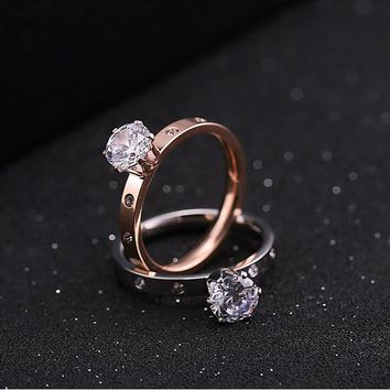 Cheap Titanium Steel Wedding Rings Brand Quality 6 Claw 1 Carat Cubic Zirconia Wedding/Engagement rings for Women Drop Shipping