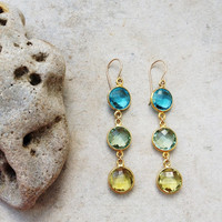 Dangle Earrings bridal wedding jewelry simple,long light sparkle lemon quartz blue topaz green amethyst gold gemstone earrings Israel