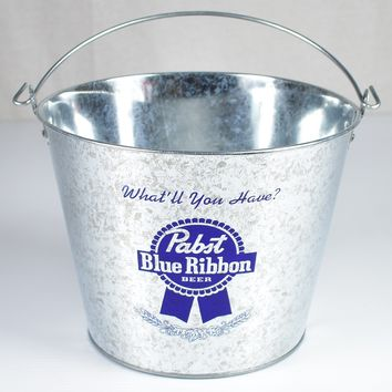 Pabst Blue Ribbon PBR Metal 5 Qt. Bucket ~ What'll You Have?
