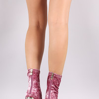 Crushed Velvet Lucite Block Heel Ankle Boots
