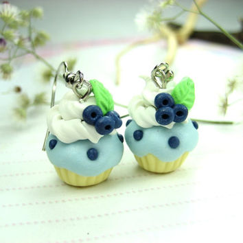 Blueberry Cupcake Earrings - food jewelry