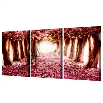 3 Piece Canvas Art - Cherry Blossoms Pink Flower Panel Wall Print Picture