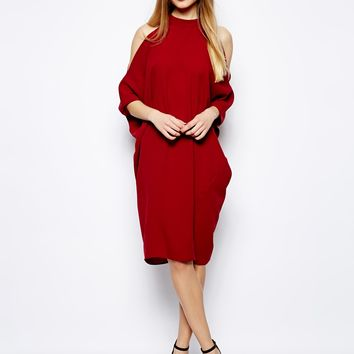 ASOS Midi Shift Dress With Cold Shoulder And Batwing Sleeves