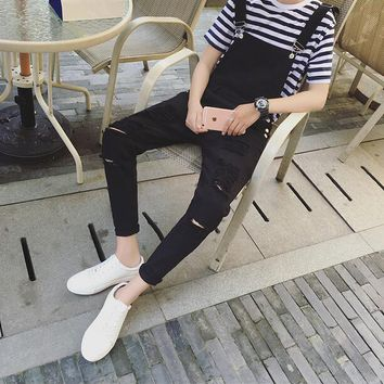 Spring personality Mens slim big hole ripped jumpsuit denim jean overalls black white bib pants