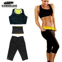 ( Pants + vest + waistband ) HOT Shaper Selling Super Stretch Neoprene Shapers Sports Clothing Set Women's Slimming  Sets