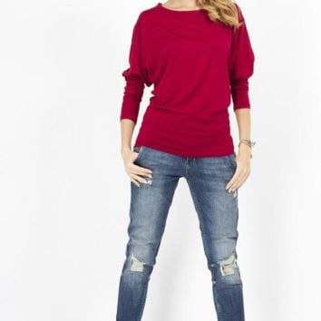 Loose Batwing Sleeve T-Shirt
