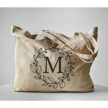 Personalized Monogram Letter Tote Bag