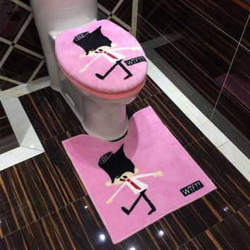 3Pcs/set Cartoon Cotton Linter Super Soft Toilet Set Print Toilet Lid Cover Bathroom Mat Carpet Warmer Potty Toilet Seat Cushion