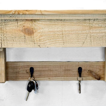 Entryway Coat Hooks - Pallet Shelf - Reclaimed Wood Shelves - Key Hook - Wall Key Holder - Key Organizer - Coat Rack - Entryway Organizer