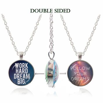 'Work Hard, Dream Big' & 'Follow Your Dreams' Double-Sided Pendant