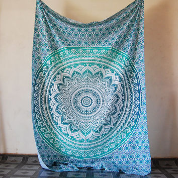 Twin Mandala Hippie Bedding Tapestry Turkish Print Bohemian Sea Green Ombre Beach Throw Ethnic Wall Hanging Decor Small Bedsheet/Bedspread
