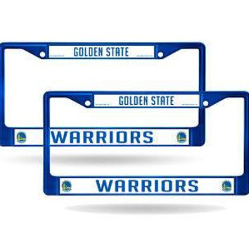 Golden State Warriors Blue Painted Chrome Metal (2) License Plate Frame Set