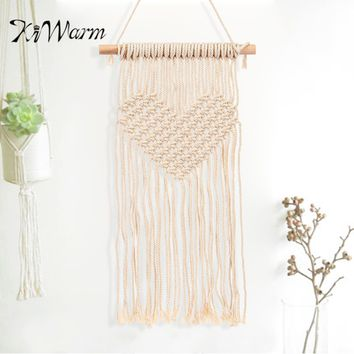 KiWarm 1Pcs 87X40CM Macrame Wall Hanging Tapestry BOHO Chic Home Decorative Wall Decor Wedding Hanging Tapestry Cord
