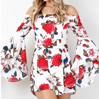 White Off Shoulder Long Sleeve Floral Print Romper
