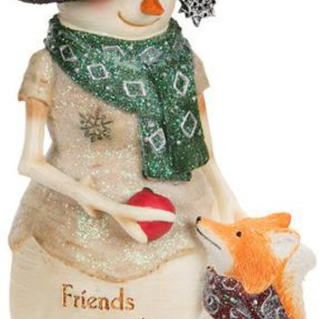 Friends Warm the Heart Snowman with Fox Figurine