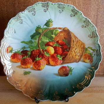 Bavaria Strawberry Serving Plate Hand painted Gold and Red Germany