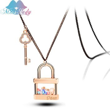 Miss Lady Rose Gold color Love Key Lock Pendant Necklace Crystal Drilling Long Choker Necklace Jewelry For Women  MLY5369