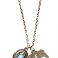 Brandy ♥ Melville |  Elephant Blue Stone Necklace - Accessories