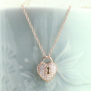 Tiny Heart Lock Necklace in Rose Gold Plated Sterling Silver