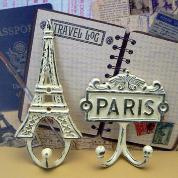 Eiffel Tower Paris Cast Iron Pair of Wall Hooks OFF White French Shabby Style Chic Design Art Decor Paris Jewelry Leash Key Mudroom Hook
