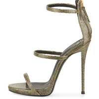 GIUSEPPE ZANOTTI Coline Lizard Embossed Triple-Strap 110mm Sandal, Black/Gold