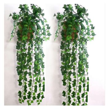 Plastic Artificial 2.5m Leaf Garland Plants For Home Decoration